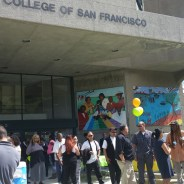 Bayview residents gather for SFPUC's Taco Tuesday at 1800 Oakdale, the building they fought for decades ago to house the Southeast Campus of City College and have taken great pride in ever since. – Photo: Bethaney Lee