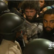 Frisco 5 supporters, now dubbed the Frisco 500, fearlessly confronted a small army of deputies as they occupied City Hall for seven hours Friday, May 6, from about 4 to 11 p.m. – Photo: CBS News