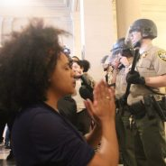 During the Frisco 500 occupation of City Hall on May 6, a protestor prays for an end to police violence. – Photo: Sana Saleem