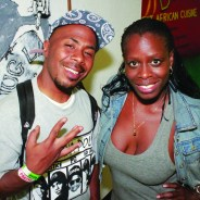 JR and Set (full name Sekiywa) Shakur, sister of Tupac and daughter of Afeni and Dr. Mutulu Shakur, hang out at last year's Pac Night held at the Oakstop in Oakland on June 25, 2015. – Photo: JR Valrey, Block Report