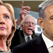 "Salon created this montage, combining photos of Hillary Clinton, Bernie Sanders and Benjamin Netanyahu, to illustrate a story titled, ""Sanders is changing the discourse on the Israel-Palestine conflict, while Clinton is as extreme as Netanyahu."" – Photos: Brian Snyder, Katherine Taylor and Nir Elias, Reuters"