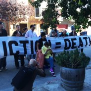 """Vigils have been held outside Iris Canada's apartment building at 670 Page, near Fillmore Street, for the last several evenings to try to convince the other """"tenants in common"""" to waive the $164,000 in attorney fees the principle owner paid in a failed attempt to put her on the street. Then he won a court order to collect the money from Iris. Because they know she doesn't have it, the villains in this saga are in effect calling for her eviction. – Photo: Tony Robles"""