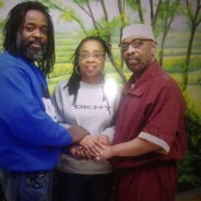 Russell Shoatz III and Sharon Shoatz with their father Russell Maroon Shoatz after his February 2014 release from solitary confinement into general population at SCI Graterford, where photographs are permitted in the visiting area.