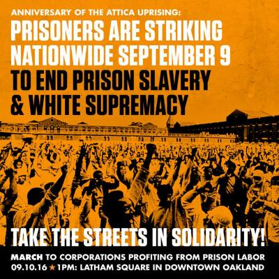 'Prisoners Are Striking Nationwide Sept 9' Oakland poster by BlackOUT Collective