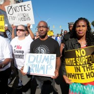 Protesters march outside the Detroit church where Trump spoke on Sept. 4, 2016. – Photo: Rebecca Cook, Reuters