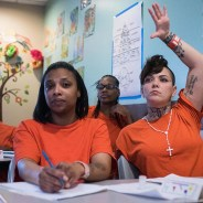 Prisoners in the San Francisco County Jail taking a college-level child development course are no doubt benefitting, but most are probably mothers who would, along with their families, benefit far more if they were home with their children. Note how many are Black – in a city where so many Black families have been pushed out that their population has dropped to about 3 percent. Bail discriminates not only by income level but also by race. – Photo: Michael Ares, SF Examiner