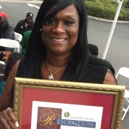 Yolanda Jones, CEO of YCAT-C, is awarded a proclamation naming YCAT-C Small Business of the Year by Sen. Mark Leno.