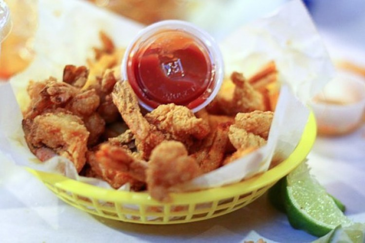 Fried shrimp with sweet potato fries