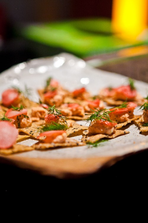 PIccino: Smoked salmon mantecado on seeded cracer with pickled radish and dill