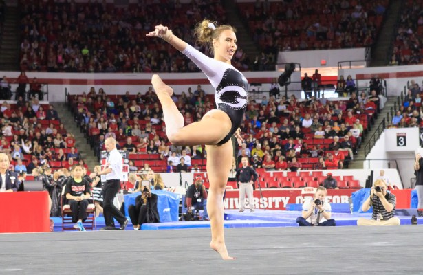 Junior Mary Beth Box preforms on the floor