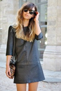 Street-Style-Leather-Shift-Dress-Ombre-Hair-400x600