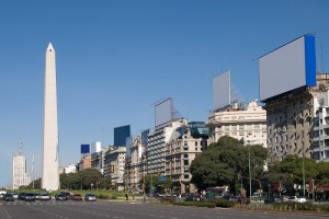 9 de Julio Avenue and The Obelisk a major touristic destination in Buenos Aires, Argentina