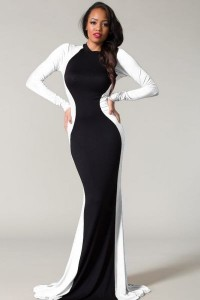 Glam-Rock-Black-White-Couture-Long-Sleeve-Maxi-Dress