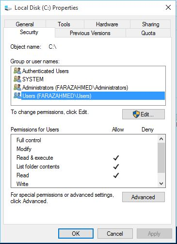user permission