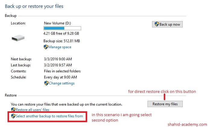 chose selectd folder to restore 1