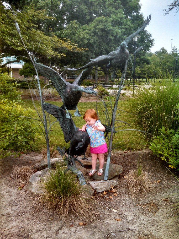 Fiona and the goose statue (3)
