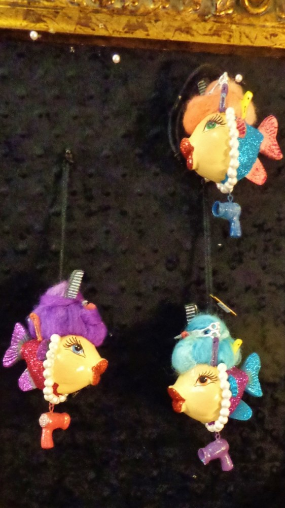 Hairdresser fish ornaments at Moonvine on Shalavee.com