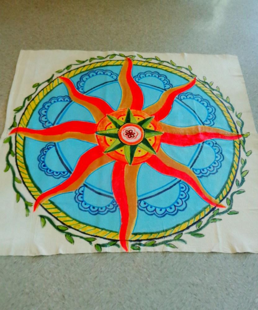 19 June Solstice decorations post Finished Floor cloth on Shalavee.com