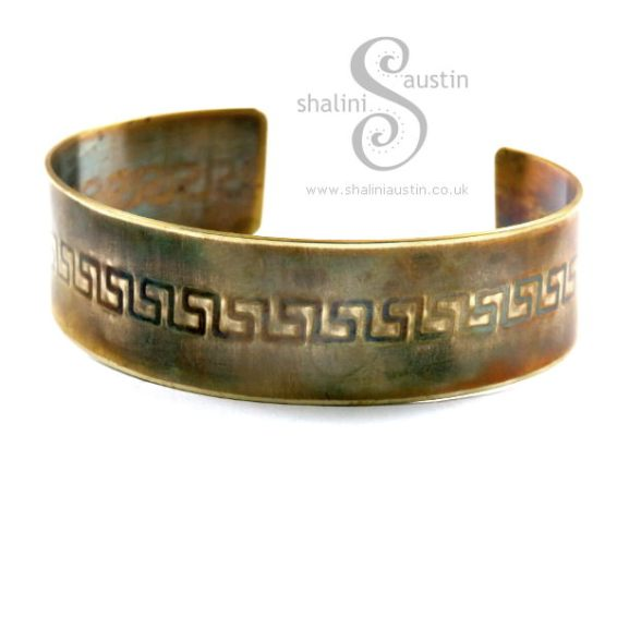 Brass Cuff: Greek Key Pattern