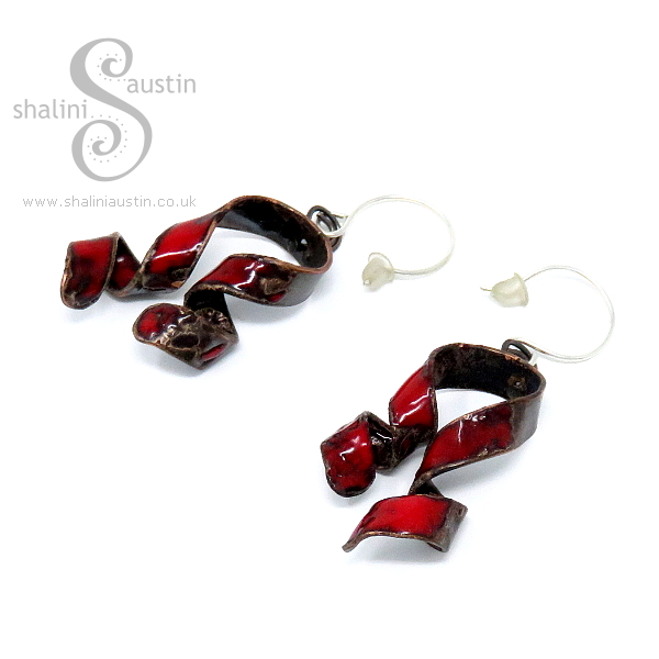 Enamelled Copper Earrings