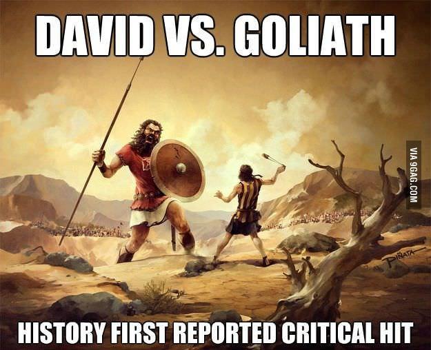 David vs Goliath critical hit meme