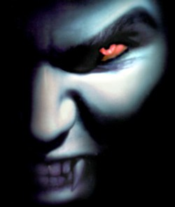 Vampire with fangs in shadow