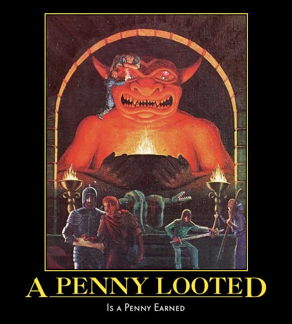 d&d meme a penny looted