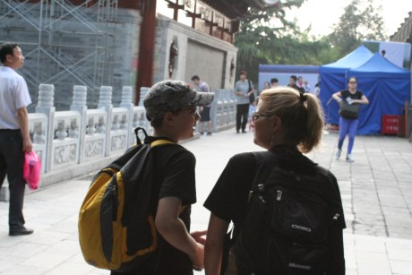 Noah actually engaging in conversation and not listening to music or playing games on his phone.  An historic occasion that required photographic evidence.  At Wild Goose Pagoda, Xi'an.