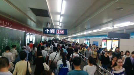 Just an average commuting day in the Beijing subway...  Although I didn't hit too many different subway locations in Shanghai during peak hours, they were rarely this crowded.