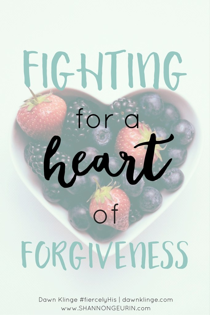 Fighting for forgiveness: God made women with fierce, protective, mama bear instincts, for a reason. It's sin that can confuse us, causing us to pick the wrong fights. I thought I needed to fight against some circumstances I couldn't control- and when I saw that I couldn't win, I became bitter. The rightful fight was against the sin in my own heart, the sin of bitterness. God was on my side in that fight. That's why I won- and victory has been very sweet.