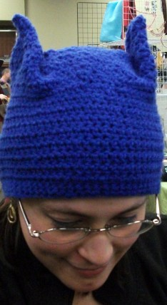 My crocheted Batgirl hat