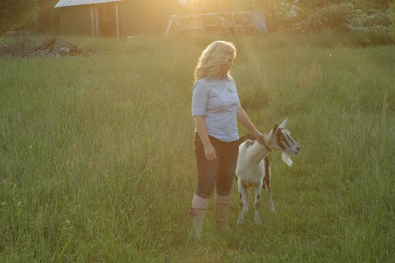 Sharon with Angel our milking goat