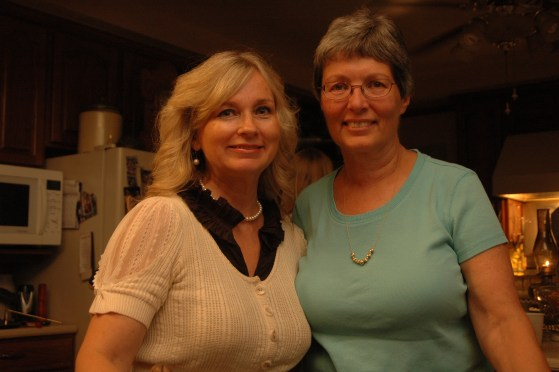 The mother of the bride to be and the mother of the groom to be, Sharon and Barbara