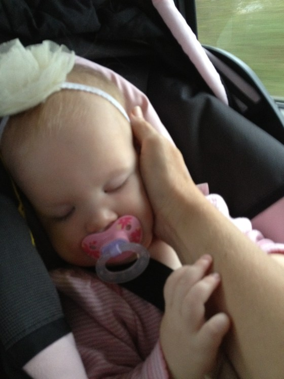 Felicity taking a nap on our way home. She was an angel for our adventure.