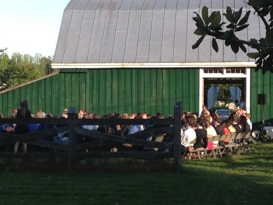 wedding in barn yard