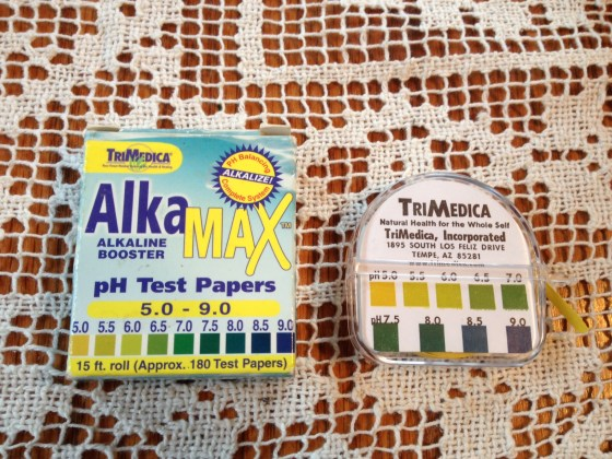 pH test strips- can be bought at any health food store