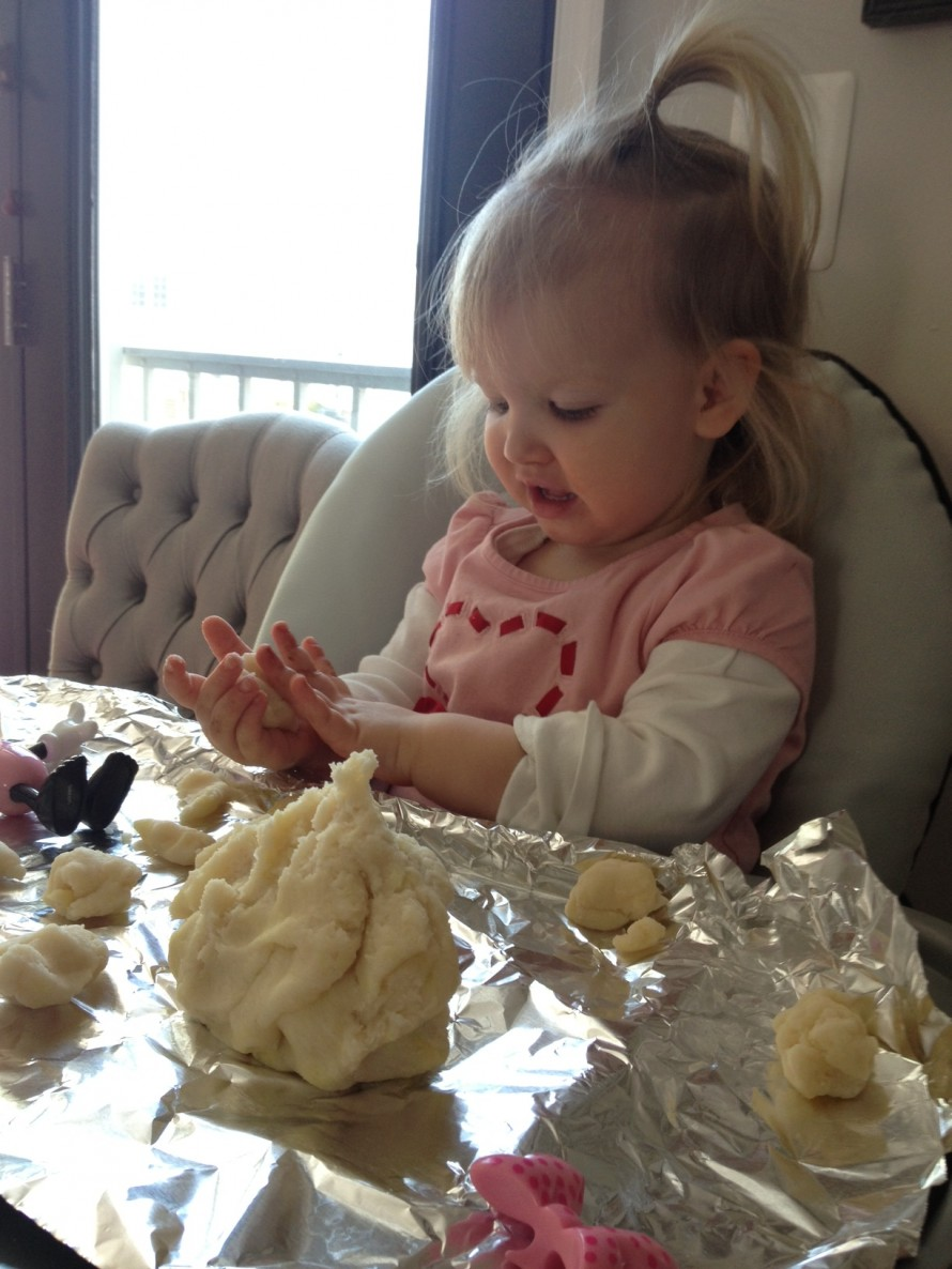 Made play dough- felicity enjoyed throwing it more than anything