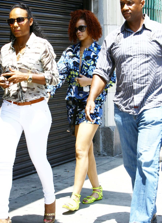 Rihanna red hair and green shoes