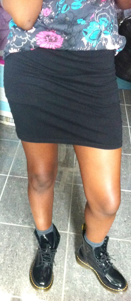 black doc martens with skirt