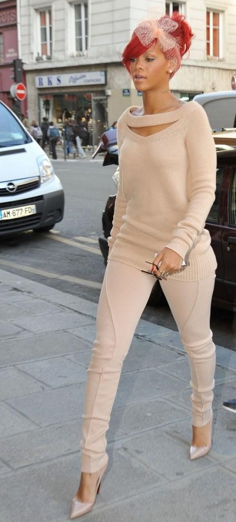 rihanna brown leggings