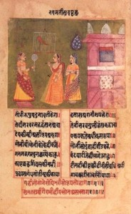 Queen_Nagamati_talks_to_her_parrot,_Padmavat,_c1750