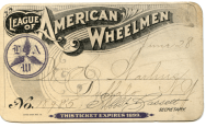 An example of a turn-of-the-century League of American Wheelmen membership card.