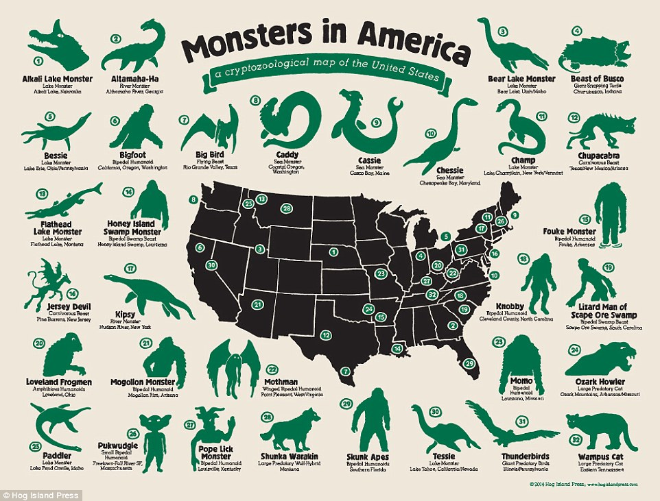 a cryptozoological map of monsters in America