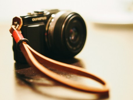 One of Gordy's leather camera straps