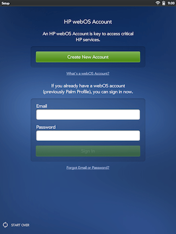 webOS New Account Setup
