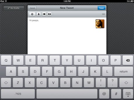 Composing a new tweet in Tweetbot for iPad