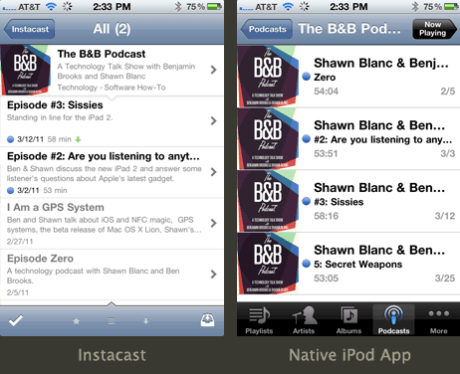 Side-by-side comparison of Instacast and the iPod app
