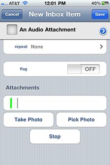 Recording an audio attachment in OmniFocus on iPhone