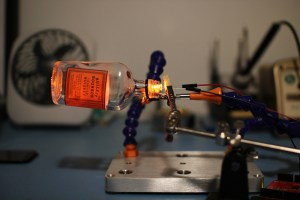 LED and bottle test setup