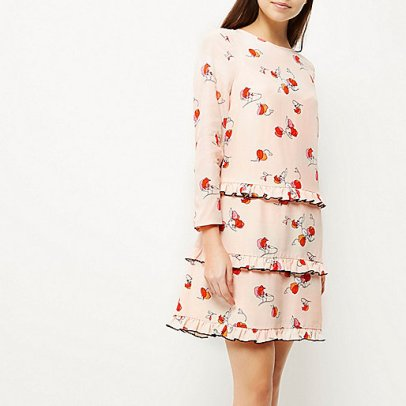 Double Thumbs Dresses #79 |Pink print ruffle dress £60 from River Island